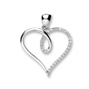 9ct white Gold 0.1ct Diamond set heart outline pendant